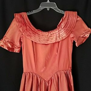 Vintage 1940s Copper Satin Ball Gown As Is Small